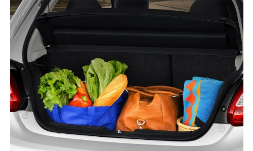 2018 Mitsubishi MIrage trunk full of groceries to show space