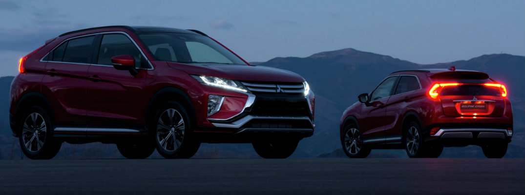 Two 2019 Mitsubishi Eclipse Cross models parked at dusk