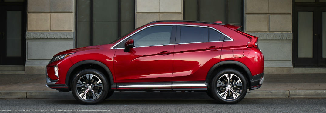 side exterior of a red 2019 Mitsubishi Eclipse Cross