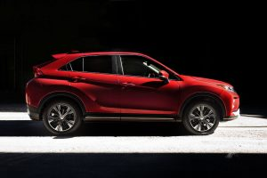 side view of a red 2019 Mitsubishi Eclipse Cross