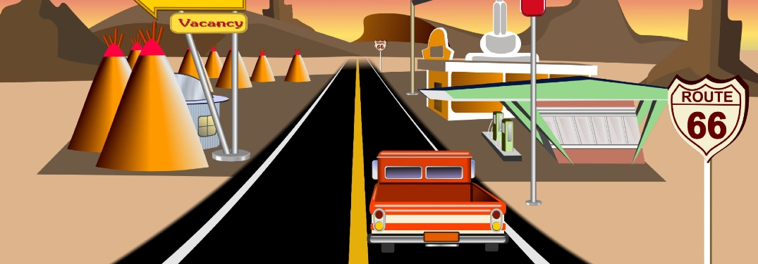 Cartoon of a vehicle driving up route 66 past unique buildings, including a gas station.