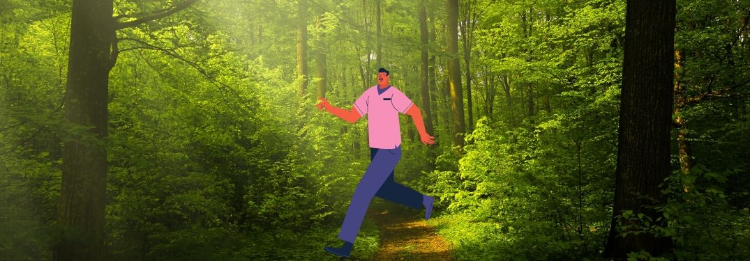 A cartoon man jauntily strolls through a beautiful forest, presumably somewhere near Chicago.