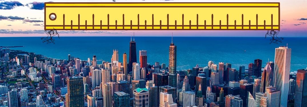 Two cherubim hold a giant ruler over the city of Chicago in an attempt to measure its size