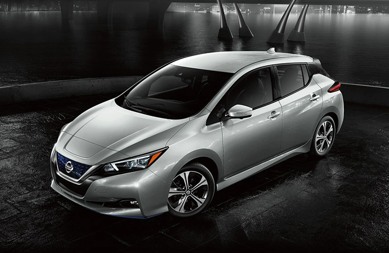 2020 Nissan Leaf by a body of water at night