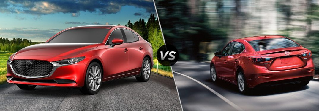 "Red 2019 Mazda3 and red 2018 Mazda3, separated by a diagonal line and a ""VS"" logo."
