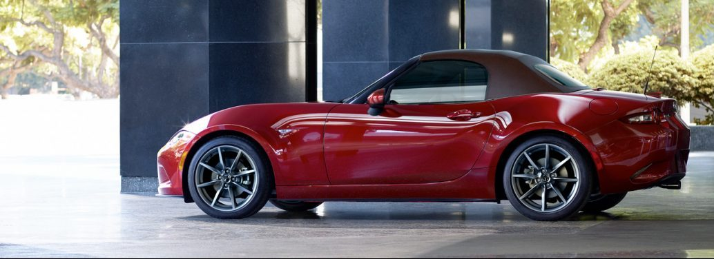 Red 2019 Mazda MX-5 Miata Convertible Parked