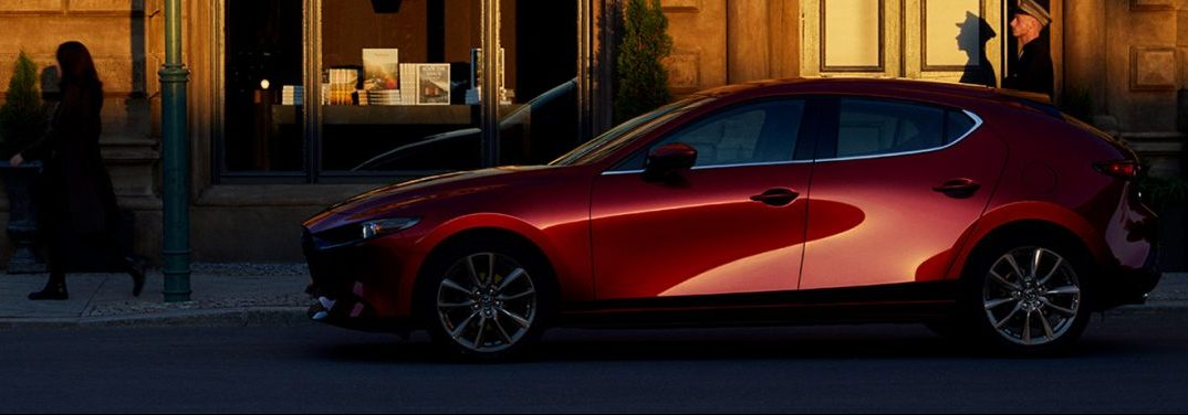 2019 Mazda3 hatchback parked on a city street