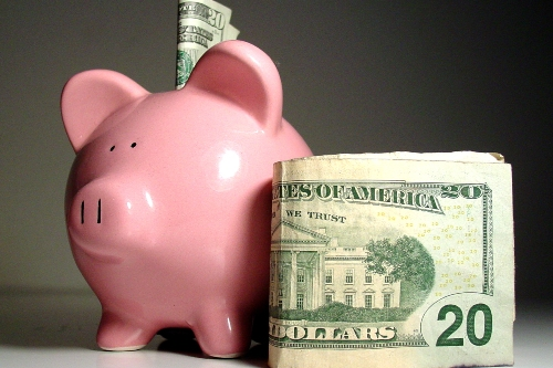 piggy bank with money in it