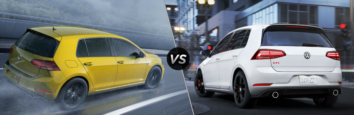 "Rear passenger side exterior view of a yellow 2019 VW Golf R on the left ""vs"" rear driver side exterior view of a white 2019 VW Golf GTI on the right"