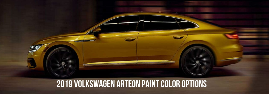 2019 Volkswagen Arteon Paint Color Options, text beneath a driver side exterior view of a yellow 2019 VW Arteon