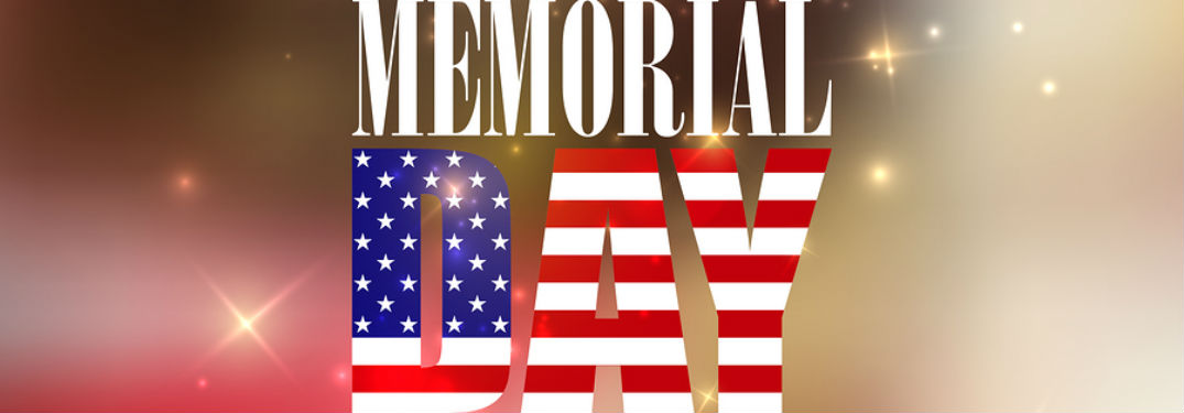 """Memorial Day"" written in red, white, and blue on an image of fireworks going off in the distance"