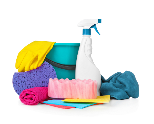 Cleaning supplies are arrayed on a white background.