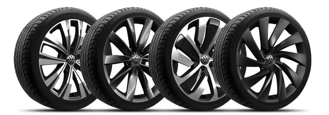 A row of four alloy wheels for a Volkswagen Arteon against a white background.