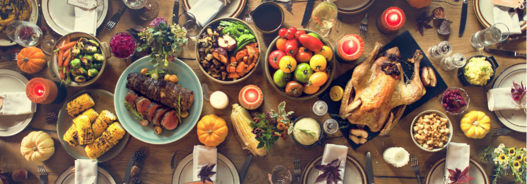 Thanksgiving feast laid out on a table