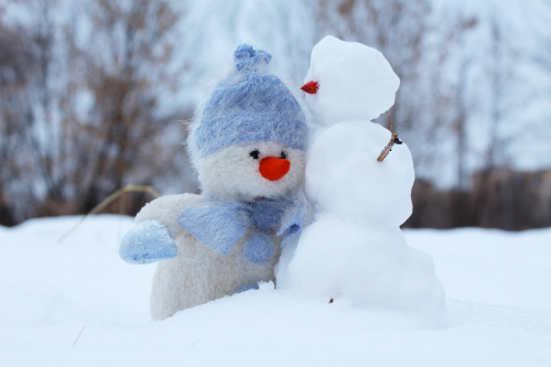 two snowmen together outside