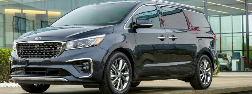 Front and side view of black 2019 Kia Sedona