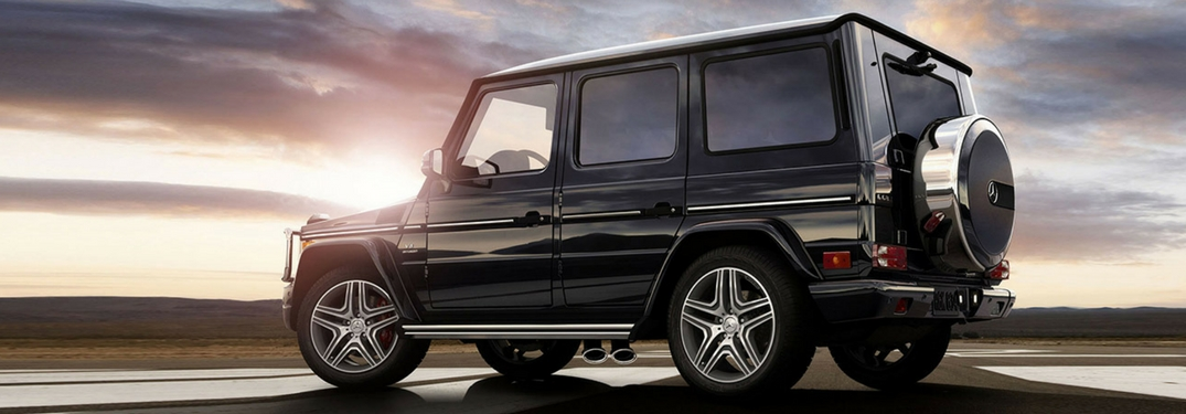 mercedes-benz g-class suv at a sunset