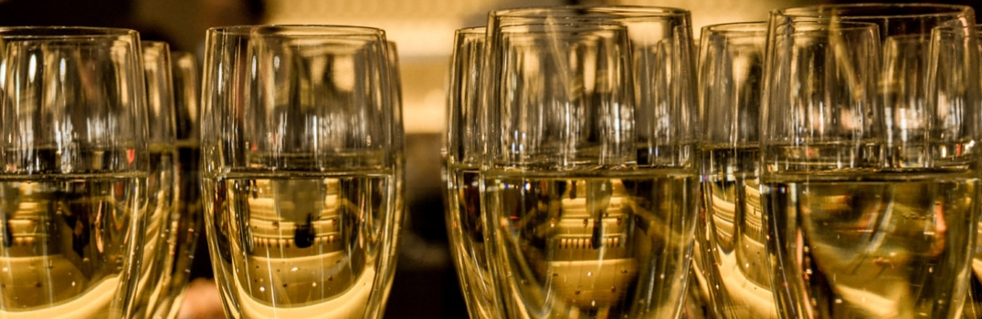 Champagne glasses lined up