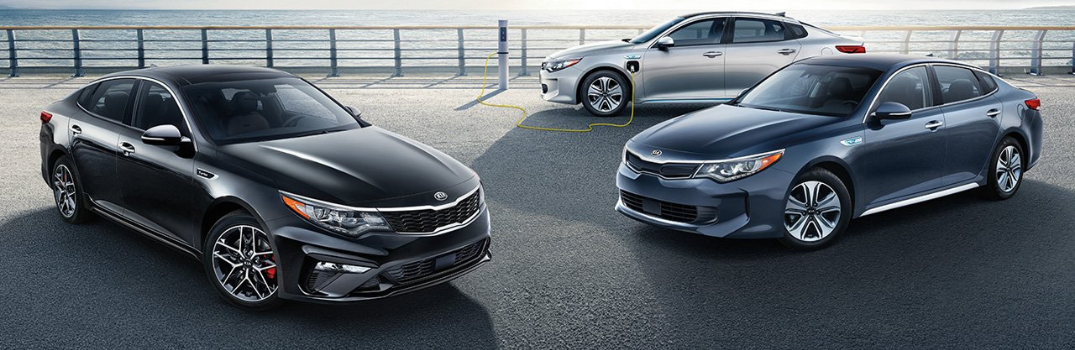 Three 2019 Kia Optimas parked near water outside