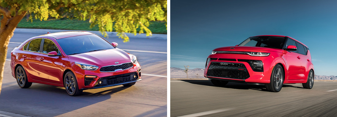 2020 Kia Soul and 2019 Kia Forte together