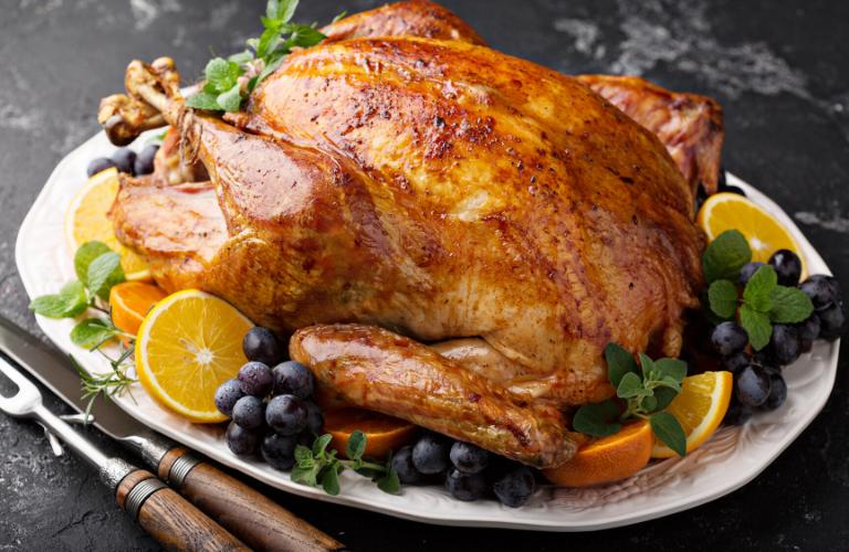 Turkey placed on table