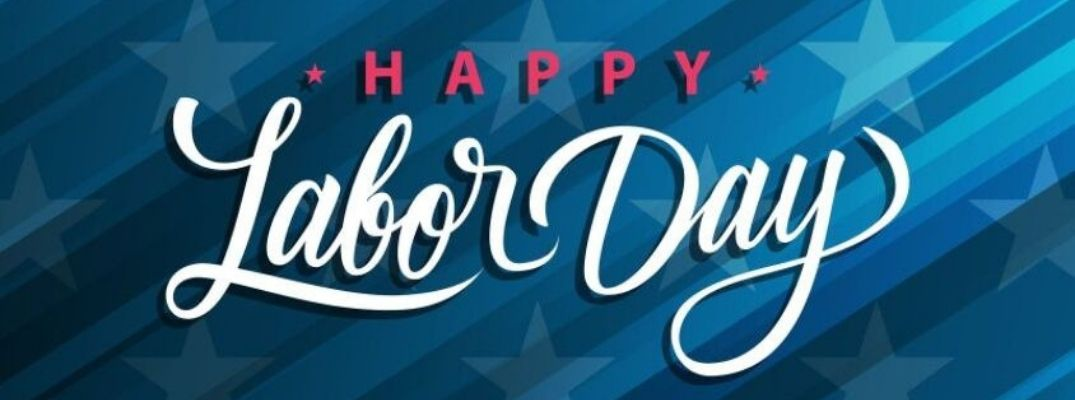 Happy Labor Day banner with blue star and stripe background