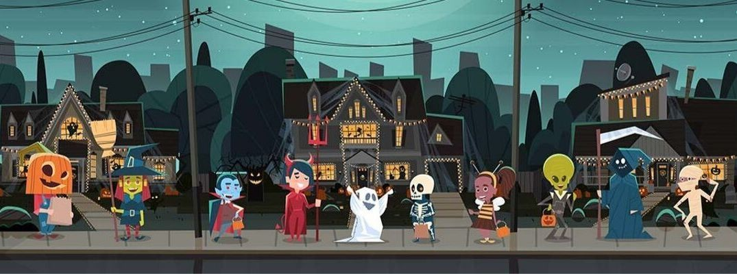 Halloween banner of a cartoon drawing of Trick-or-Treating