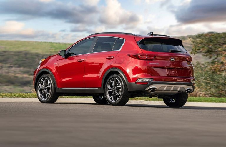 Exterior view of the rear of a red 2020 Kia Sportage