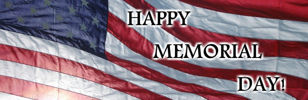 Close Up of American Flag with Happy Memorial Day text