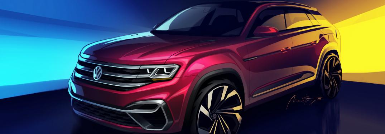 Five-passenger Volkswagen Atlas concept sketch