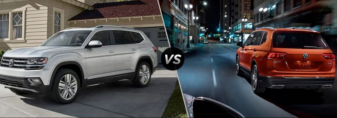 "Silver 2019 Volkswagen Atlas parked in a driveway and habanero orange 2019 Volkswagen Tiguan driving down a city street at night are separated by a diagonal line and ""VS"" logo."