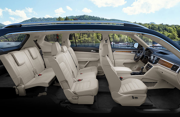 Cutaway side view showcasing the interior of a 2019 Volkswagen Atlas.