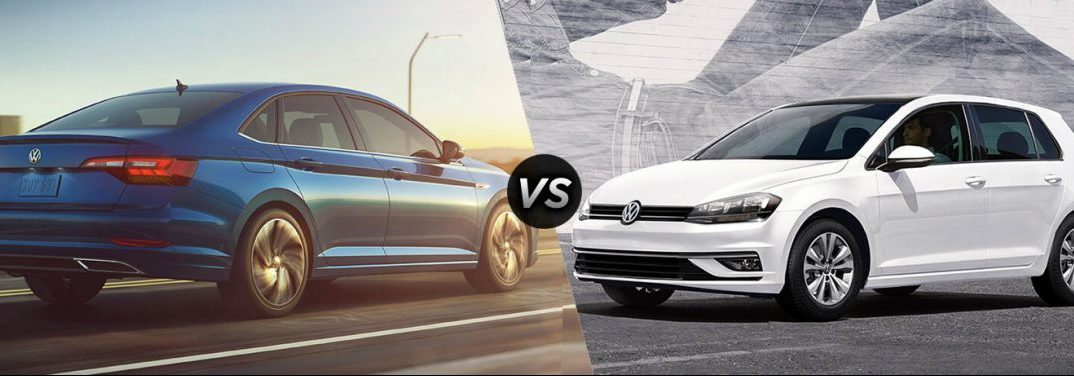 "Blue 2019 Volkswagen Jetta and white 2019 Volkswagen Golf, separated by a diagonal line and a ""VS"" logo."