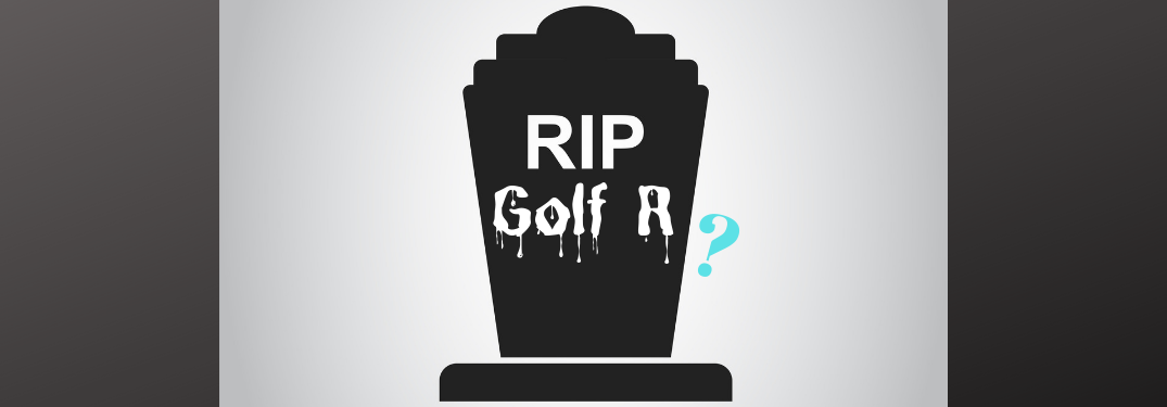 "Silhouette of a gravestone inscribed with the words ""RIP Golf R."" A blue question mark dangles off to the right side."
