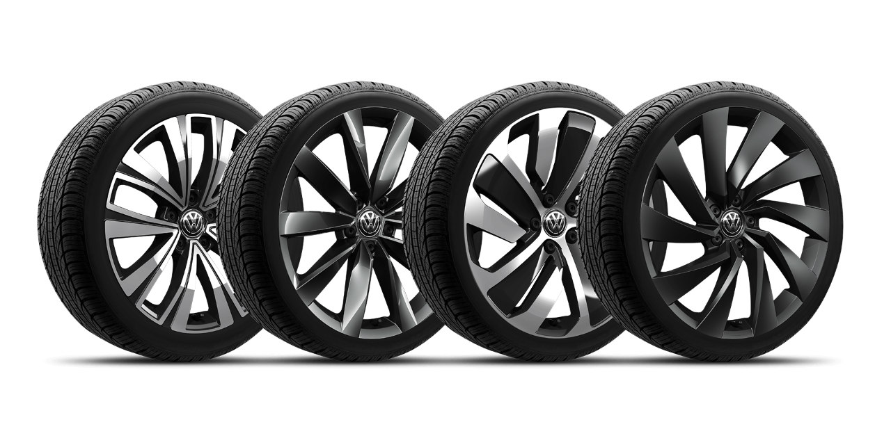 Four 2019 Volkswagen Arteon wheels lined up in a row on a white background.
