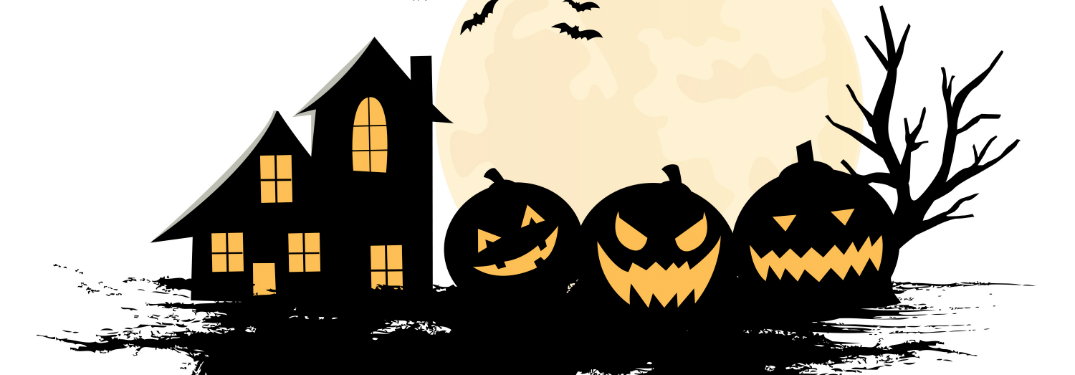Silhouettes of pumpkins, a house, trees, and bats lie against a gigantic full moon on a white background.