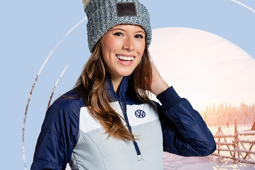 Woman modeling VW apparel
