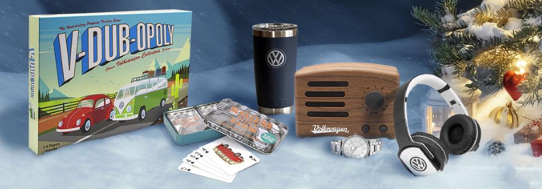 VW-brand gifts Christmas display