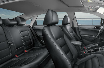 2020 VW Passat interior side view of front and rear seats