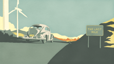 clip from farewell film of vw beetle driving away with the last mile sign on right