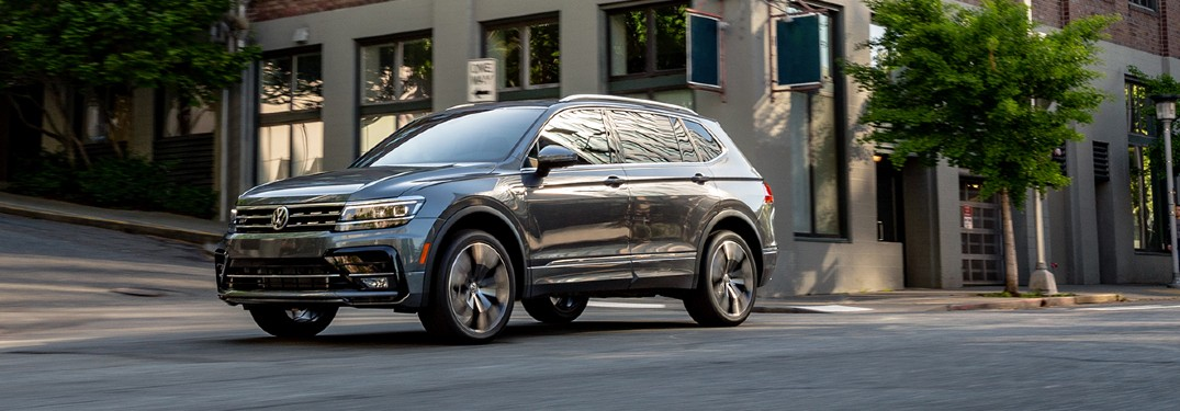 2020 VW Tiguan front driver side driving on city street