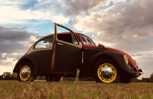 red black and yellow restored vw beetle