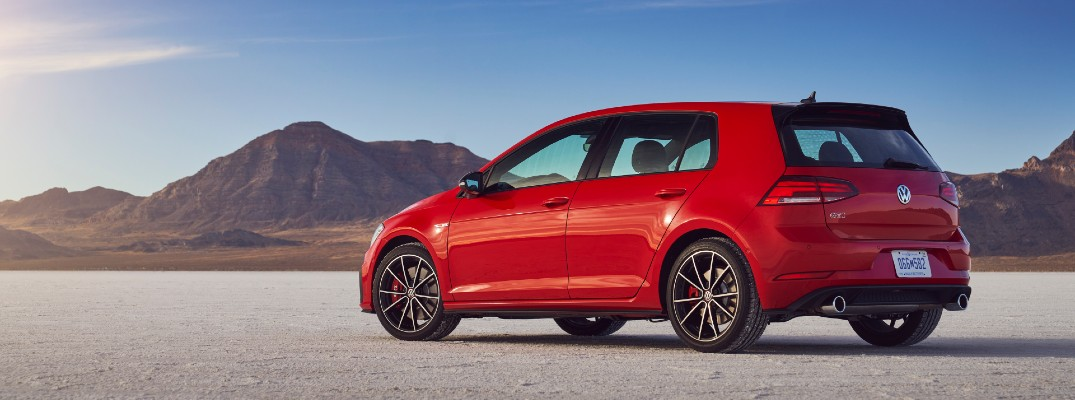A left profile photo of the 2021 Volkswagen Golf GTI.