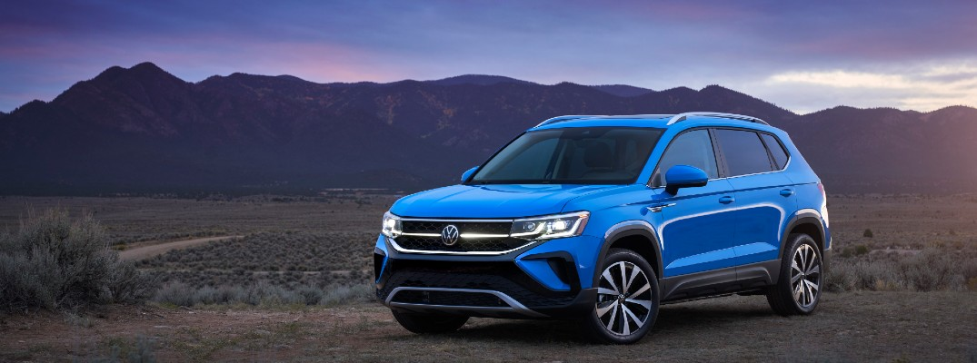 A front left look at the 2022 Volkswagen Taos.