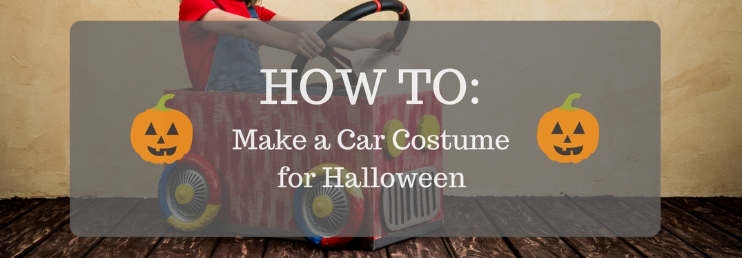 How to Make a Car Costume for Halloween Banner with a cardboard car and pumpkins