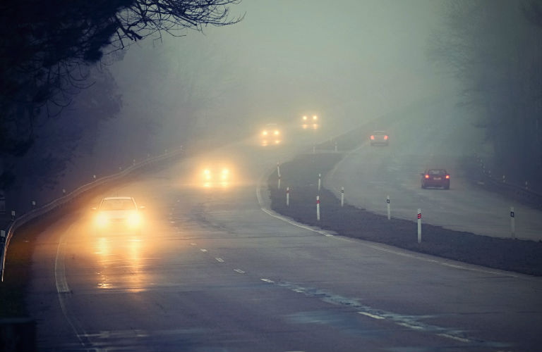 Cars on wet highway