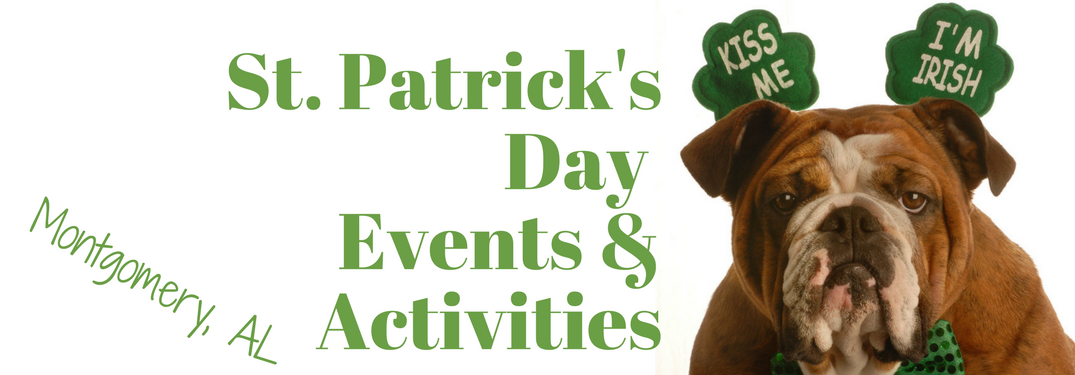 St. Patrick's Day Events & activities Montgomery next to a bulldog