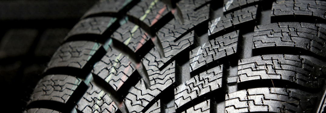 Closeup of a tire's treads