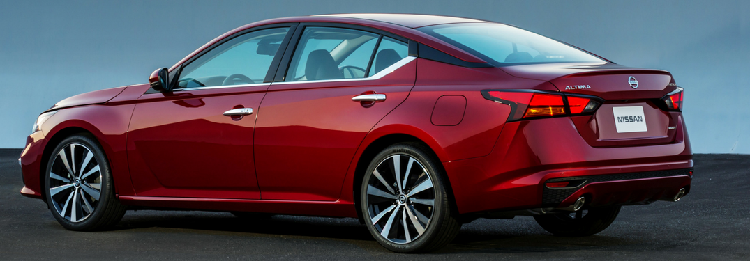 2019 Nissan Altima in red rear side view