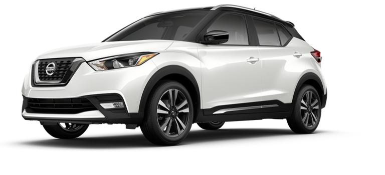 2018 Nissan Kicks Aspen White and Super Black side view